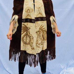 One size fits most, handmade leather poncho